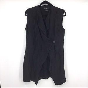 Citron Black Linen Silk Sleeveless Top Medium